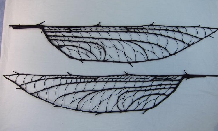 paper mache dragonfly wing structure finished