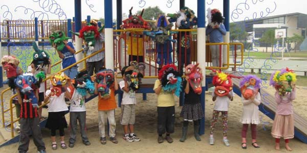 1st grade and paper mache masks