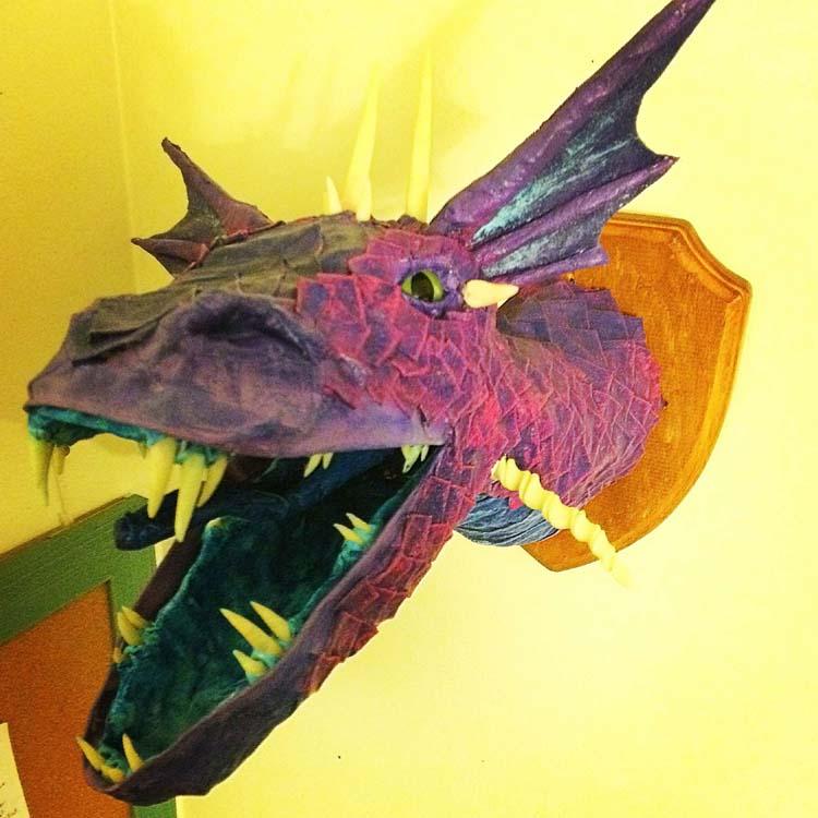 anastasia's paper mache dragon trophy