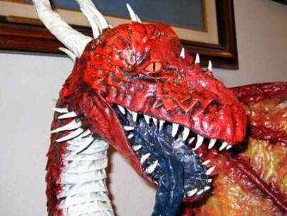bens paper mache dragon face