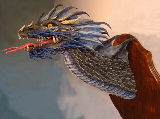 Paper Mache Blue Dragon -side2