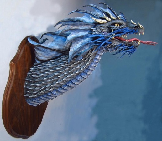 Paper Mache Blue Dragon -side1
