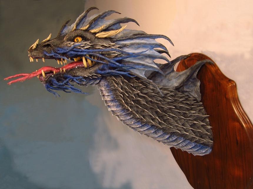 blue paper mache trophy