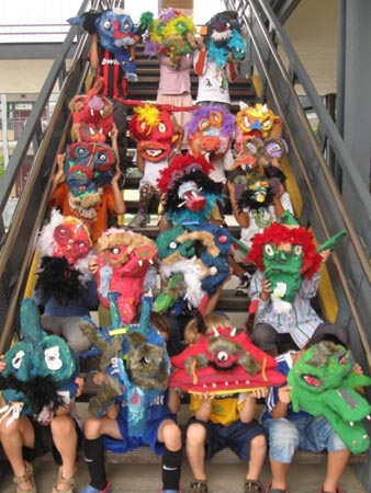 kids and paper mache masks 2