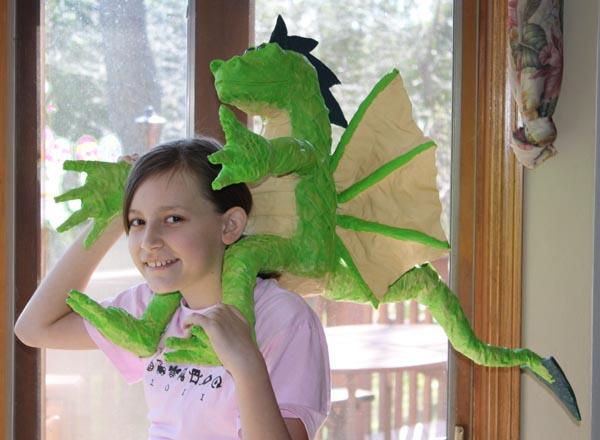 Liza's paper mache dragon 1
