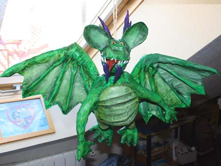 marias green paper mache dragon
