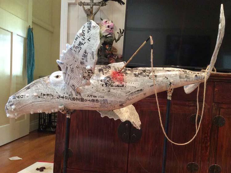 marion's paper mache whale