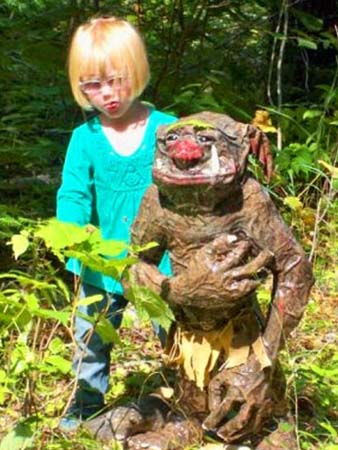 matts paper mache troll and daughter