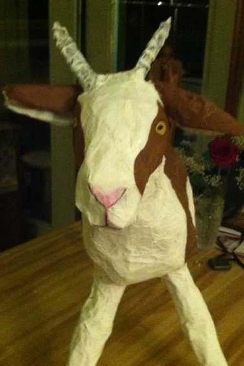 mj 's paper mache goat