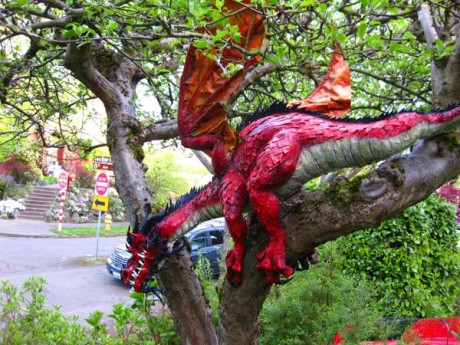 outside paper mache dragon-close up