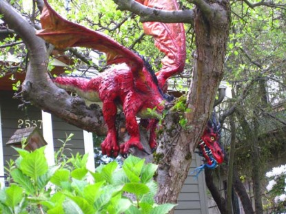 outside paper mache dragon- look left