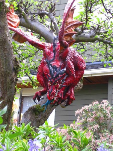 outside paper mache dragon-looking at you