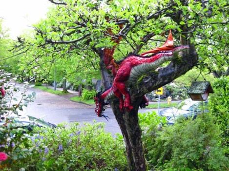 outside paper mache dragon
