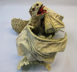 Paper mache baby dragon- green