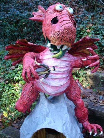 paper mache dragon and dinner