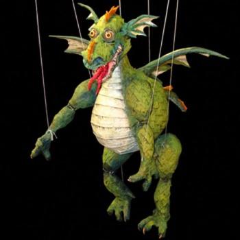Paper mache dragon marionette