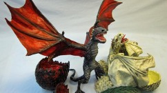 paper mache Game of Thrones Baby dragons