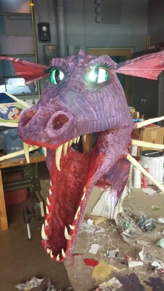 richard drakke's paper mache dragon mask lit up