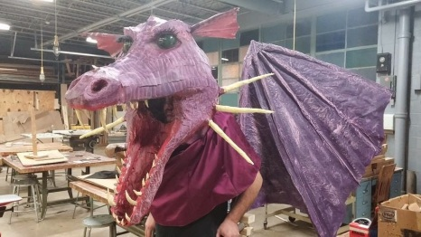 Richard Drakke's paper mache dragon mask