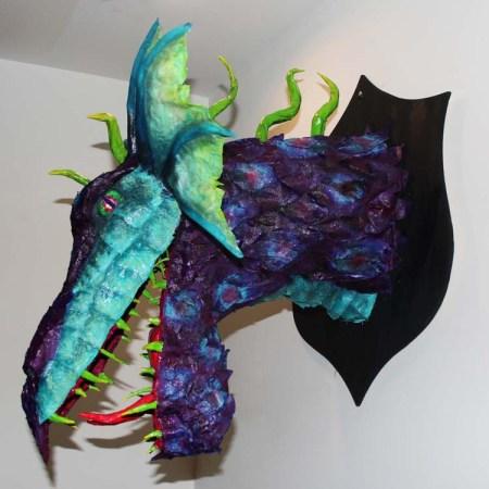 sarah clisby's paper mache dragon trophy