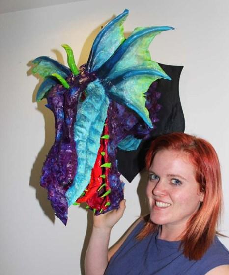 sarah clisby's paper mache dragon trophy2