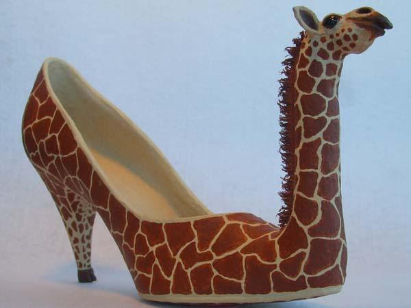 suz paper mache shoe giraffe