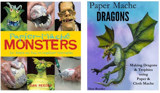 Two paper mache books