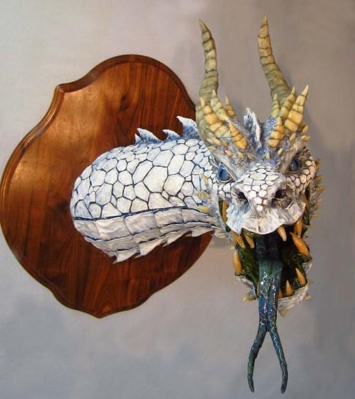 Paper mache White Dragon- front