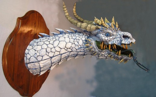 Paper mache White Dragon- side 1