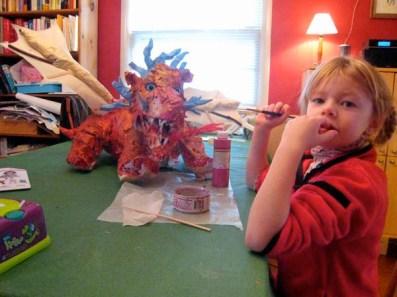 zoe's paper mache dragon