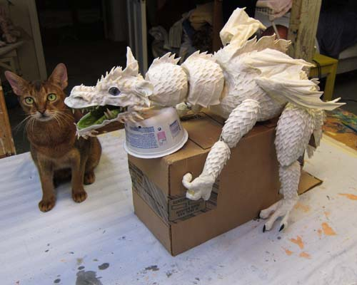 paper mache dragon with Eddie