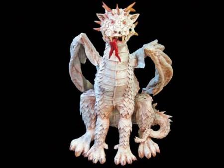 Paper Mache albino dragon-front
