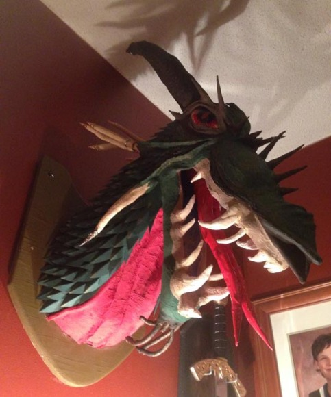 Arin's paper mache dragon trophy