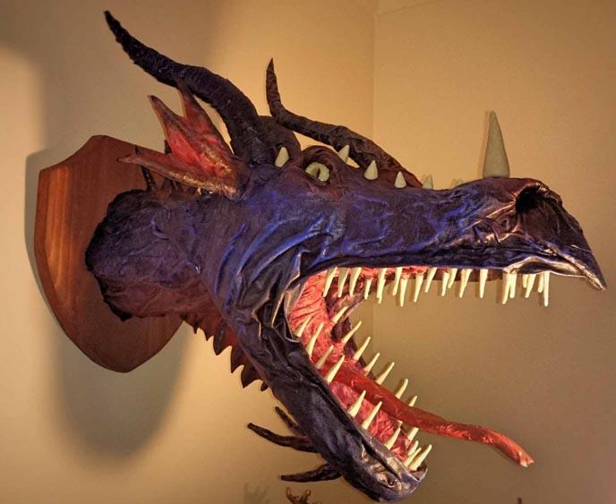 Ben's paper mache dragon trophy