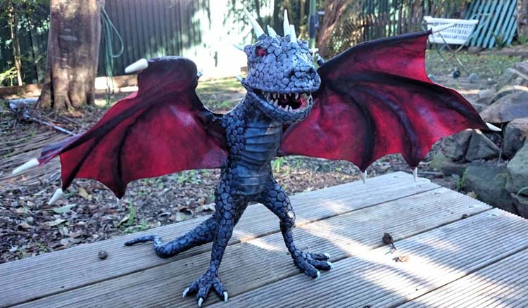 Ben's paper mache little dragon