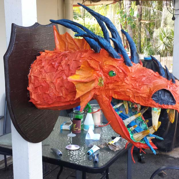 Craig thompson's paper mache dragon trophy