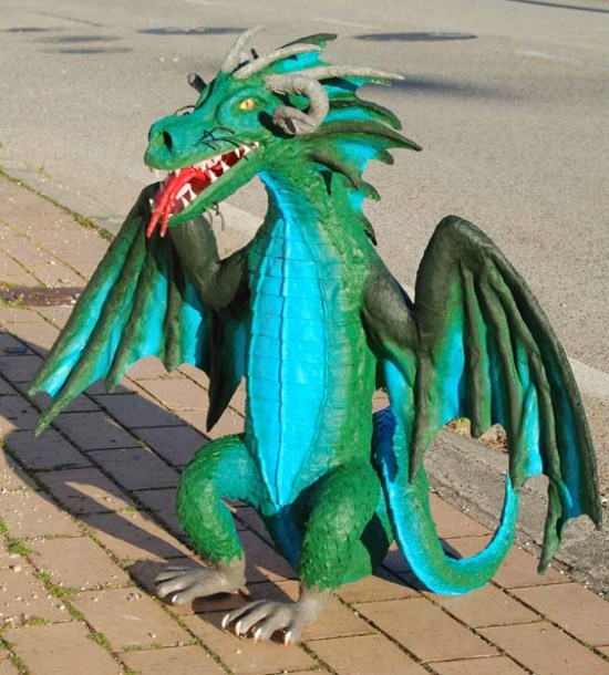 Silva's paper mache green dragon