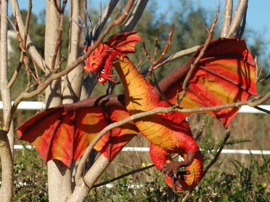 hugo silva's paper mache red dragon