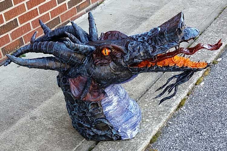 Kalei's paper mache Dragon