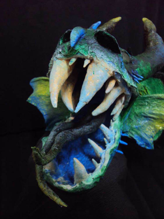 maria's paper mache dragon trophy mouth