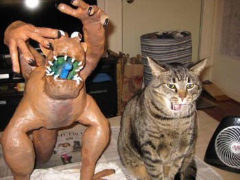 "meredith paper mache Screamer, ""Elmer"" and Chewie"