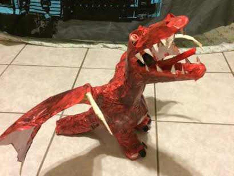"""Nat's paper mache dragon """"Nubs"""""""