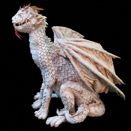 paper mache albino dragon side