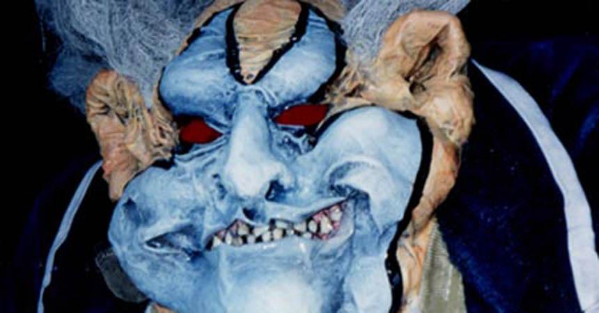 paper mache clown face close up- featured