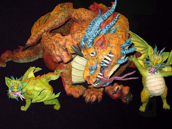 paper mache dragon mother- with babies