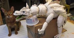 paper mache dragon with Eddie- slider