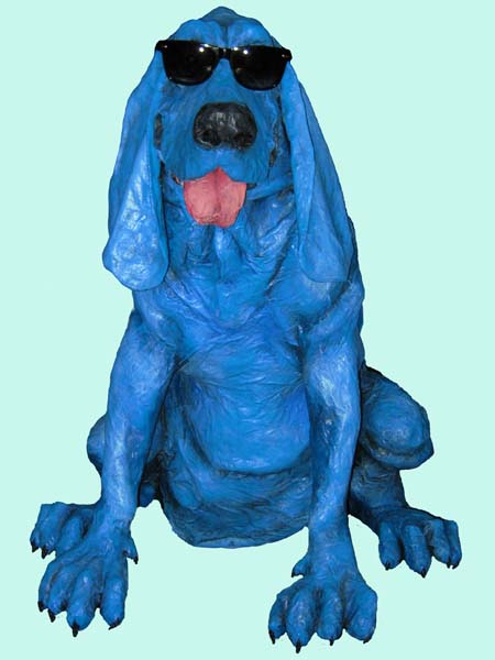 paper mache hound on blue