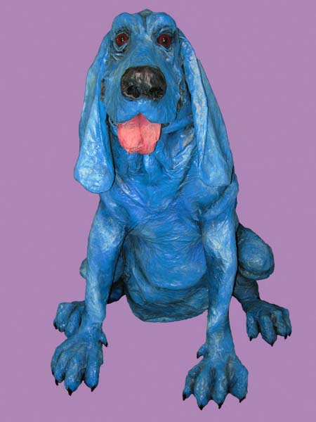 paper mache hound on purple