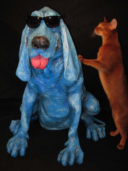 paper mache hound with Eddie