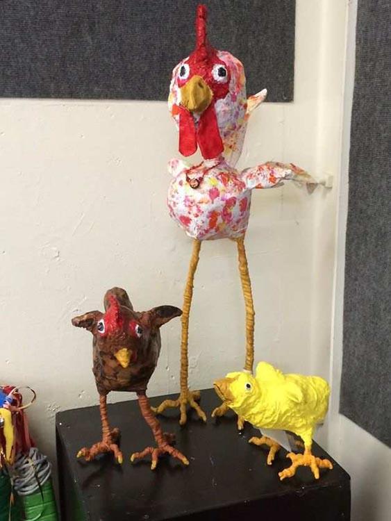 Rose Almere's paper mache chickens 2